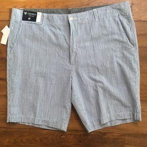 Cremieux Seersucker Blue White Striped Shorts New